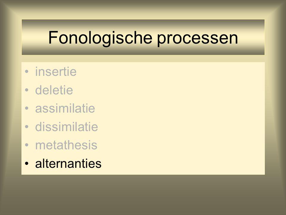 Fonologische processen insertie deletie assimilatie dissimilatie metathesis alternanties