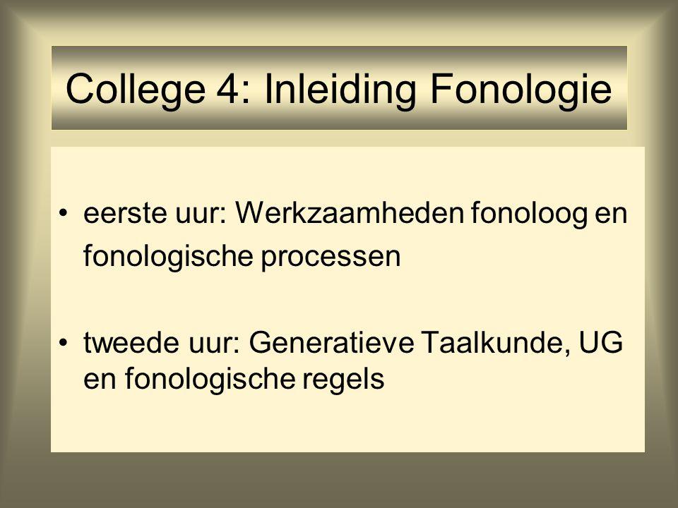 College 4: Inleiding Fonologie eerste uur: Werkzaamheden fonoloog en fonologische processen tweede uur: Generatieve Taalkunde, UG en fonologische rege