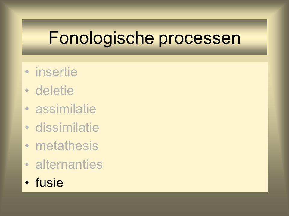 Fonologische processen insertie deletie assimilatie dissimilatie metathesis alternanties fusie