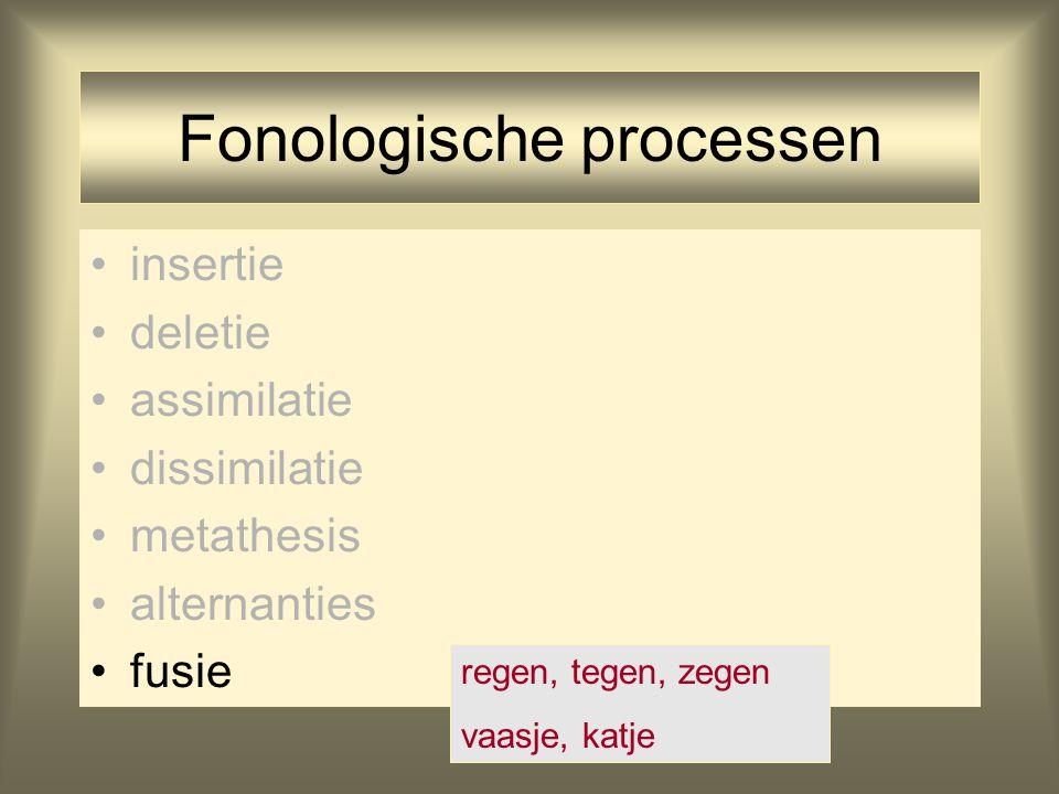 Fonologische processen insertie deletie assimilatie dissimilatie metathesis alternanties fusie regen, tegen, zegen vaasje, katje