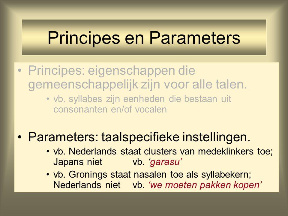 Principes en Parameters Principes: eigenschappen die gemeenschappelijk zijn voor alle talen. vb. syllabes zijn eenheden die bestaan uit consonanten en