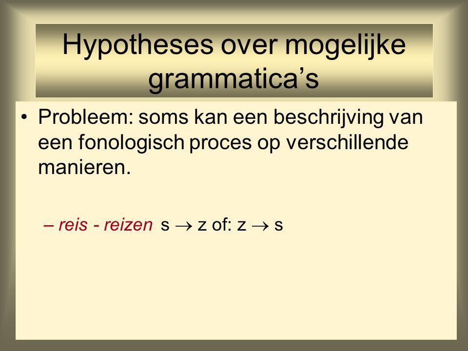 Hypotheses over mogelijke grammatica's Probleem: soms kan een beschrijving van een fonologisch proces op verschillende manieren. –reis - reizens  z o