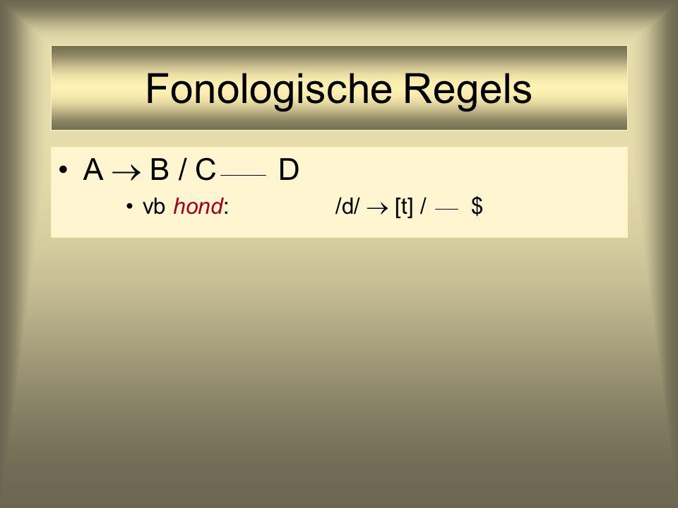 Fonologische Regels A  B / C D vb hond: /d/  [t] / $