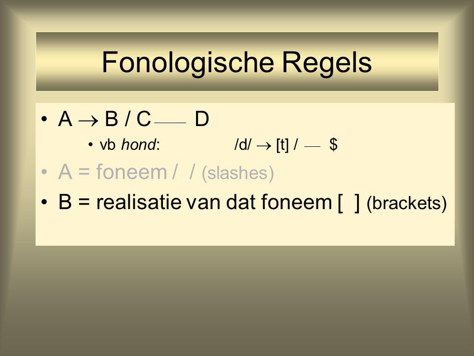 Fonologische Regels A  B / C D vb hond: /d/  [t] / $ A = foneem / / (slashes) B = realisatie van dat foneem [ ] (brackets)