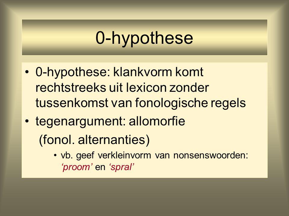 0-hypothese 0-hypothese: klankvorm komt rechtstreeks uit lexicon zonder tussenkomst van fonologische regels tegenargument: allomorfie (fonol. alternan