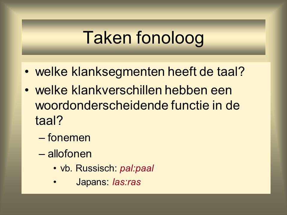 Taken fonoloog welke klanksegmenten heeft de taal? welke klankverschillen hebben een woordonderscheidende functie in de taal? –fonemen –allofonen vb.