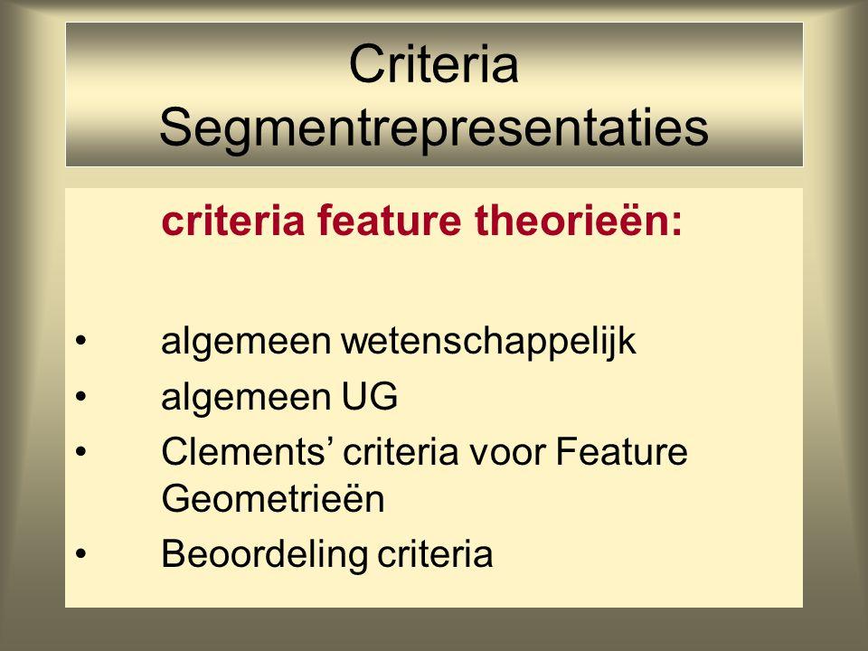 Criteria Segmentrepresentaties criteria feature theorieën: algemeen wetenschappelijk algemeen UG Clements' criteria voor Feature Geometrieën Beoordeling criteria