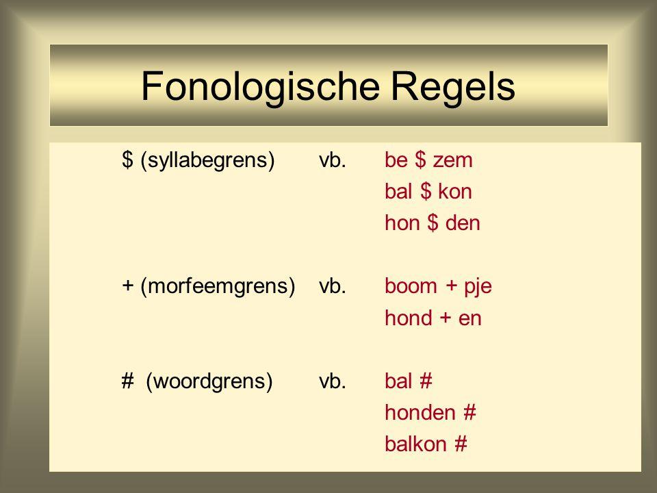 Fonologische Regels $ (syllabegrens)vb. be $ zem bal $ kon hon $ den + (morfeemgrens)vb.boom + pje hond + en # (woordgrens)vb.bal # honden # balkon #