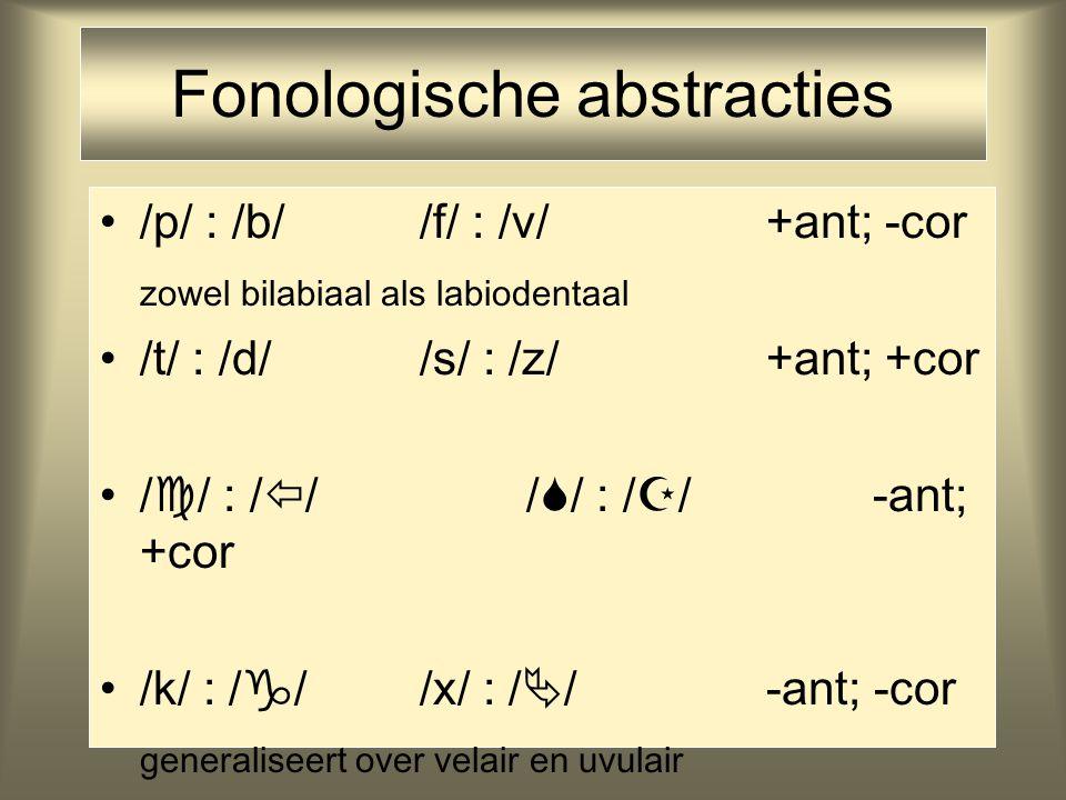Fonologische abstracties /p/ : /b//f/ : /v/ +ant; -cor zowel bilabiaal als labiodentaal /t/ : /d//s/ : /z/ +ant; +cor /  / : /  //  / : /  / -ant;