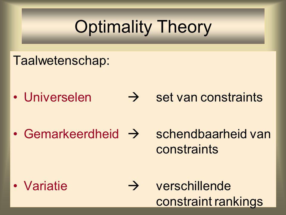 Syllabificatie van consonantclusters De rangschikking van constraints voorspelt precies de vier voorkomende oplossingen Yawelmani Spaans Engels Berber