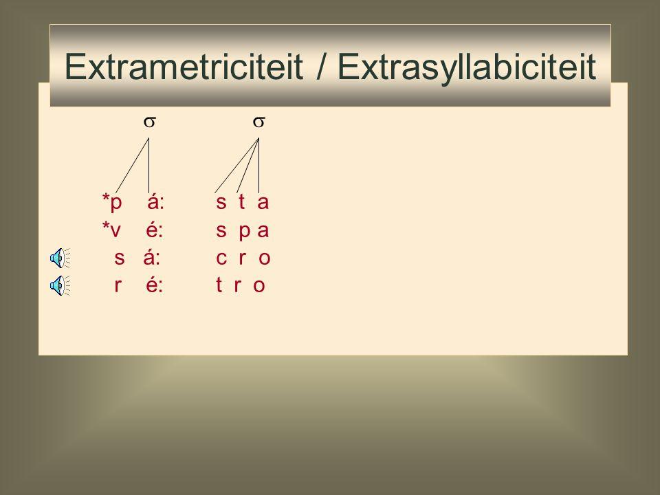 syllable  onsetrhyme margin nucleus (pre-m.) m. core satpeak sat. coda (appendix) f á: to f át to p é: to p ét to m án to Extrametriciteit / Extrasyl