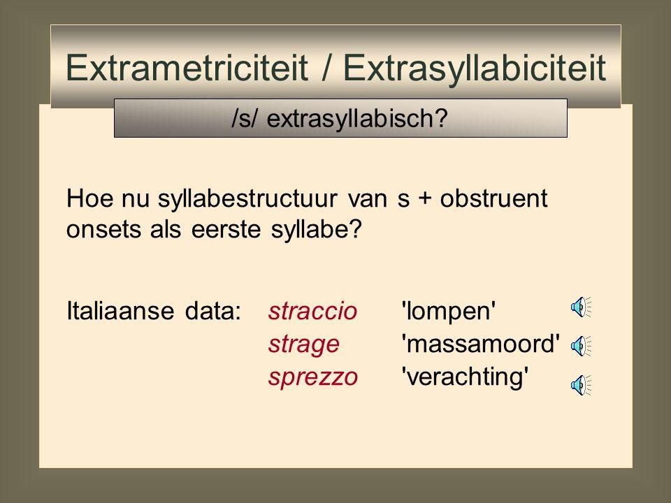 Tegenargument: pre-margin /s/ niet extrasyllabisch aspiratie Engels:[  ] maar:[  ] Extrametriciteit / Extrasyllabiciteit