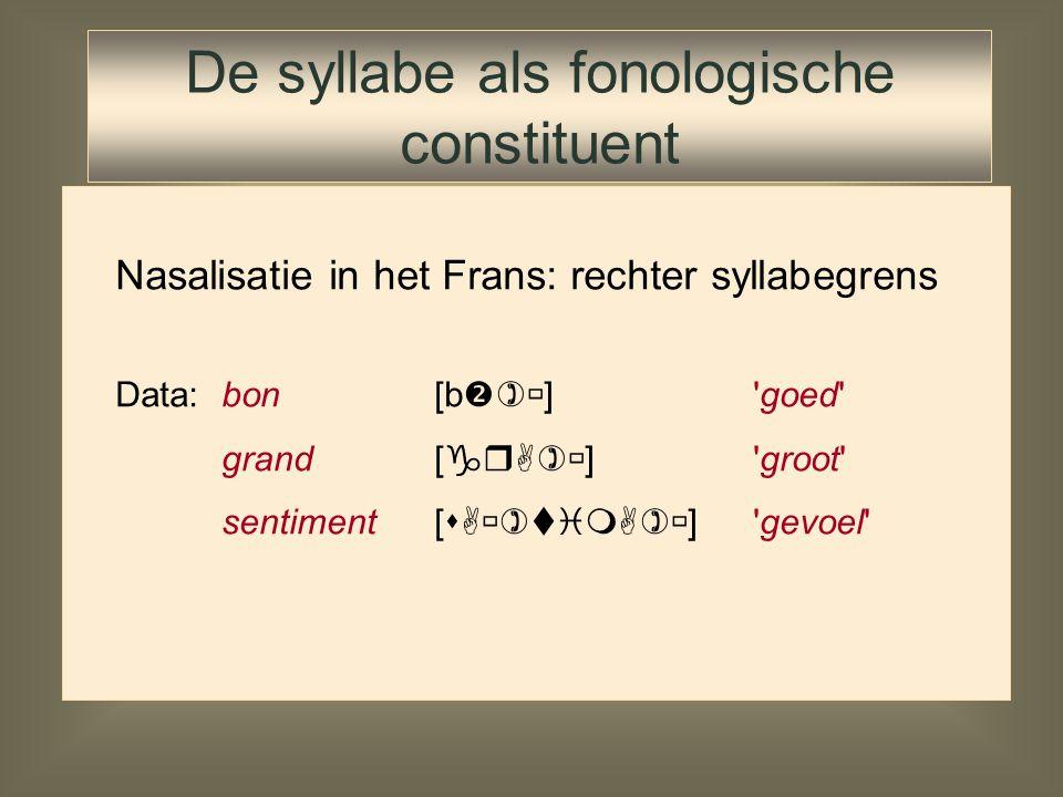 De syllabe lijkt bestaansrecht te hebben in de fonologie Fonologen stellen verschillende syllabemodellen voor naast constituentenmodel: mora-theorie H