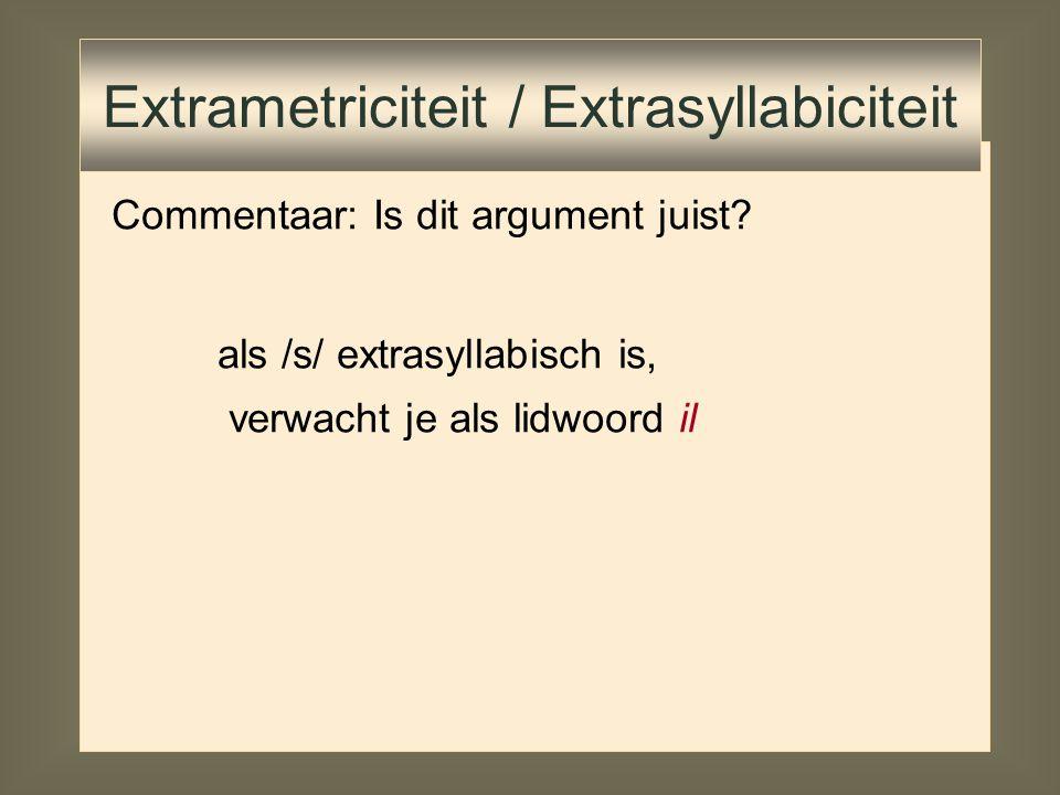 Commentaar: Is dit argument juist? Extrametriciteit / Extrasyllabiciteit