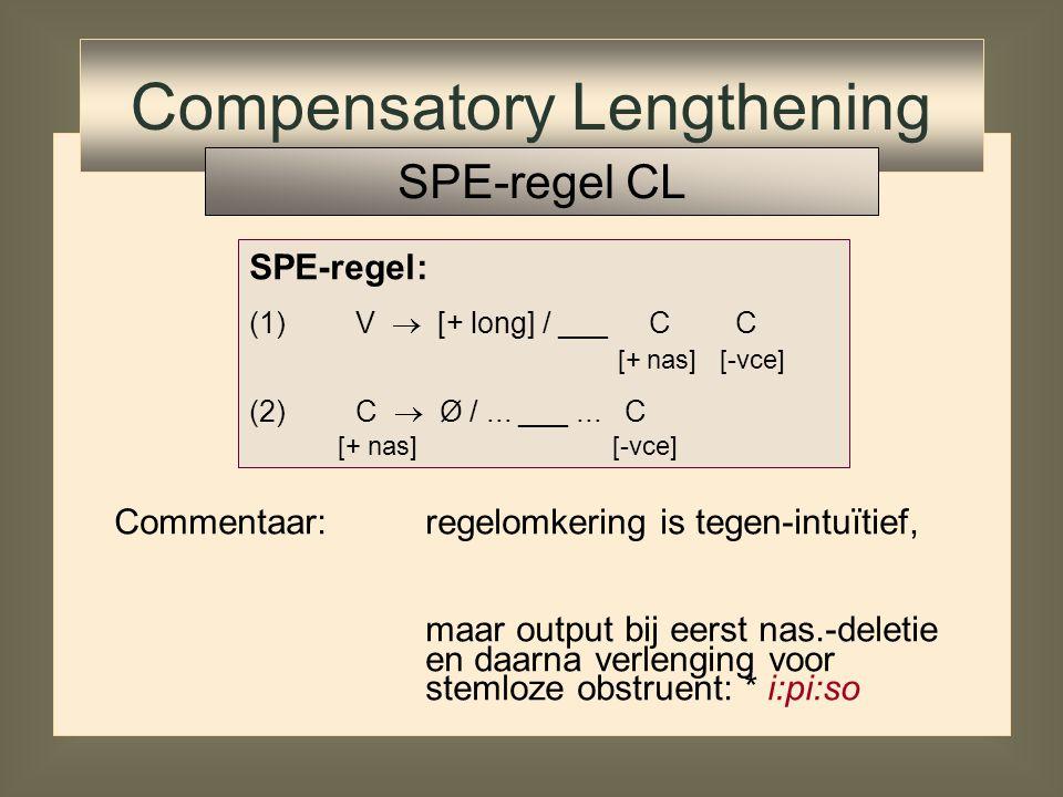SPE-regel: (1)V  [+ long] / ___ C C [+ nas] [-vce] (2)C  Ø /... ___... C [+ nas] [-vce] Compensatory Lengthening SPE-regel CL