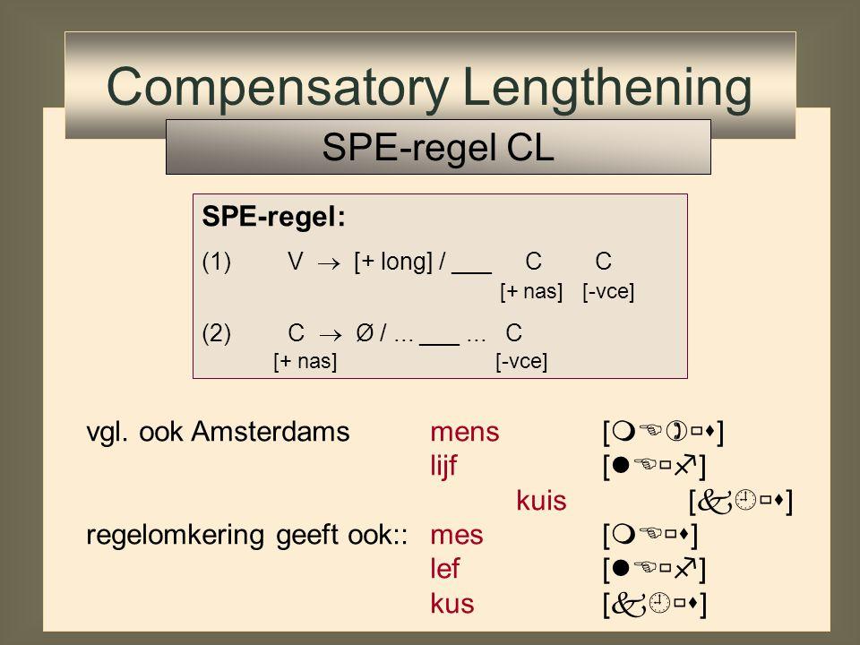 vgl. ook Amsterdamsmens[  ] lijf[  ] kuis [  ] SPE-regel: (1)V  [+ long] / ___ C C [+ nas] [-vce] (2)C  Ø /... ___... C [+ nas] [-vce] C