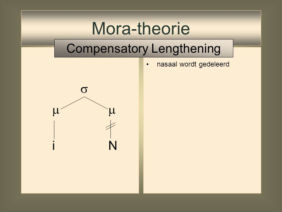   i N Mora-theorie Compensatory Lengthening
