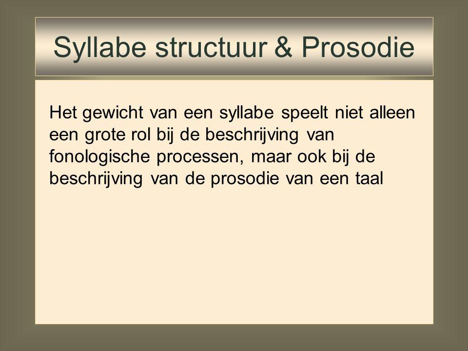Voordeel: Mora-theorie drukt cruciale eigenschap van syllabes (rhyme) uit: gewicht of zwaarte    X XX X Nadelen: Sonoriteitsverschil 'onsetsegmente