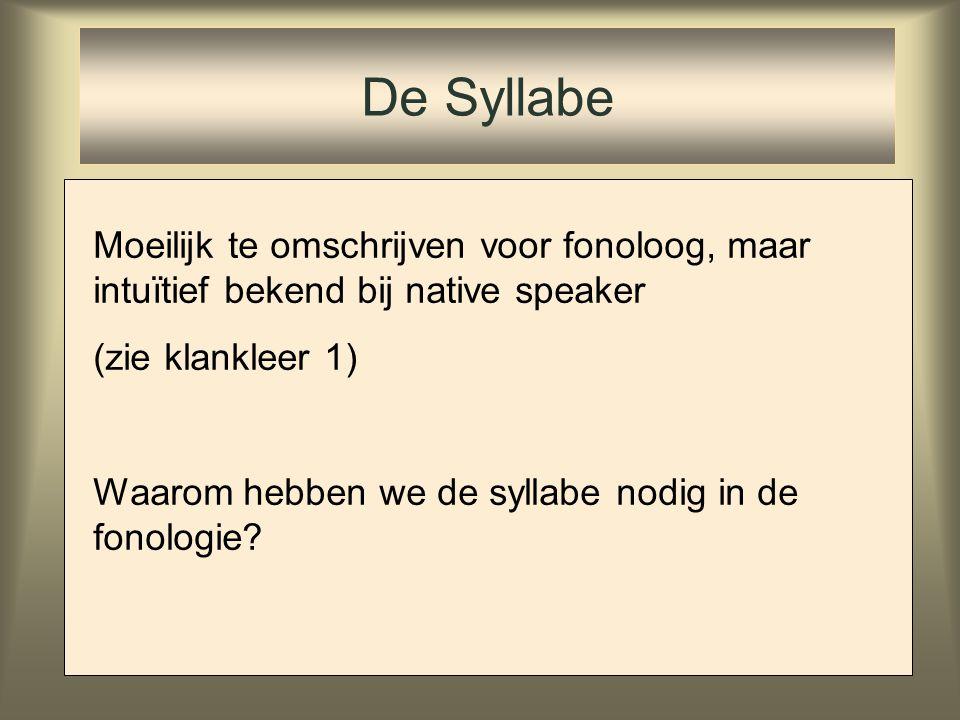 Syllabificatie van consonantclusters: Spaans /absorb-to/ Dep- IO Peak*Complex Max- IO ab.sor.to * ab.sorb.to ab.sor.be.to ab.sor.b.to ☞ *!