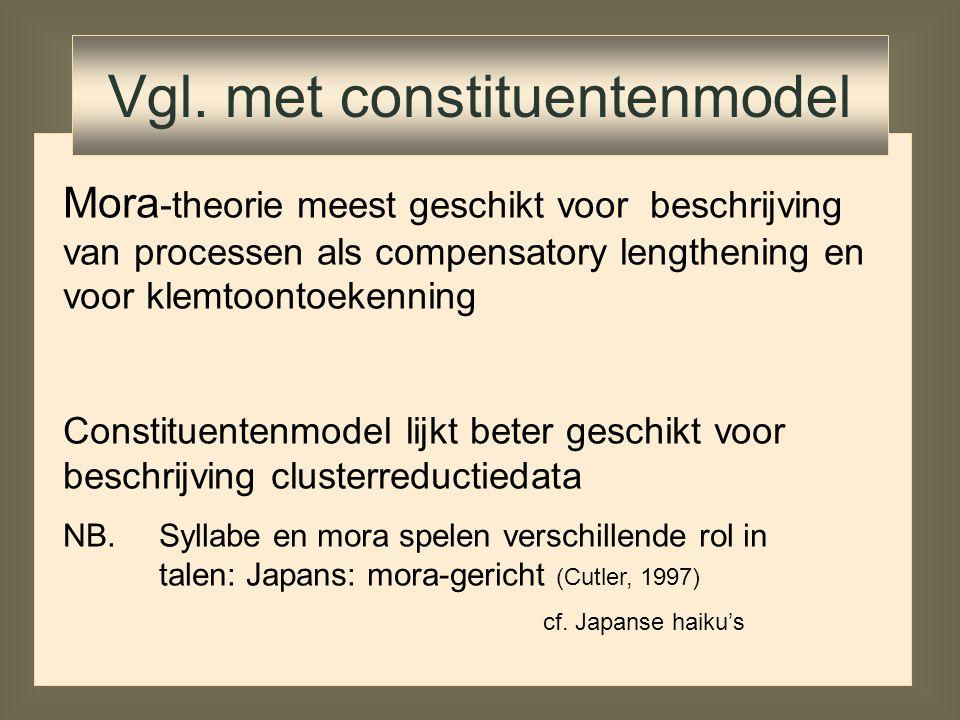 Mora -theorie meest geschikt voor beschrijving van processen als compensatory lengthening en voor klemtoontoekenning Constituentenmodel lijkt beter ge