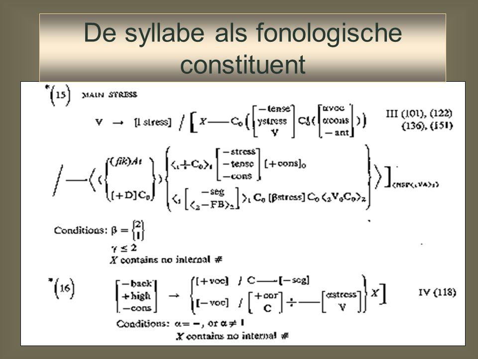 De syllabe als fonologische constituent Zonder syllabe als fonologische eenheid moeten processen beschreven worden als regels op woorden en foneemopee