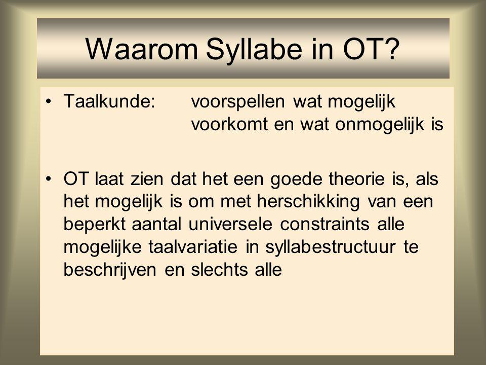 Taak Taalkunde Taaluniversalia: door alle talen gedeeld Taalvariatie: de mogelijke variatie tussen talen Universele Grammatica: aangeboren kennis van