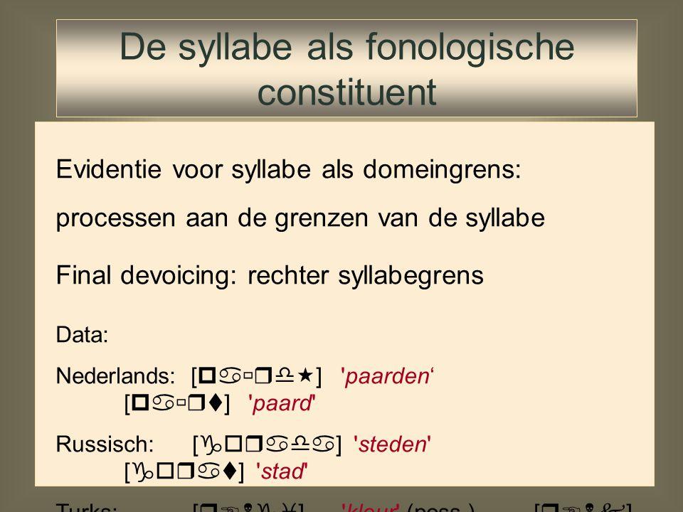 Constraint ranking Yawelmani Voorkómen van schending *Coda: –Consonant syllabificeren als syllabenucleus (output kandidaat 2) –Deleren van consonant (output kandidaat 3) –Inserteren van vocaal (output kandidaat 4) /xat-en/ PeakOnset*ComplMax-IODep-IO*Coda xa.ten * xa.te.n xa.te xa.te.ni ☞ *!