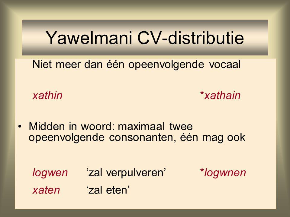 Yawelmani CV-distributie Woorden moeten beginnen met een consonant xathin'at' (imperf. van 'eten')*alapine Aan woordgrenzen: niet meer dan één consona