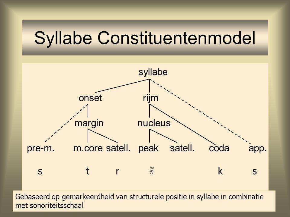 Syllabestructuur Ongemarkeerde syllabes: –Onset: syllabes beginnen met een consonant –Peak: syllabes hebben een vocaal –*Coda: syllabes eindigen met e