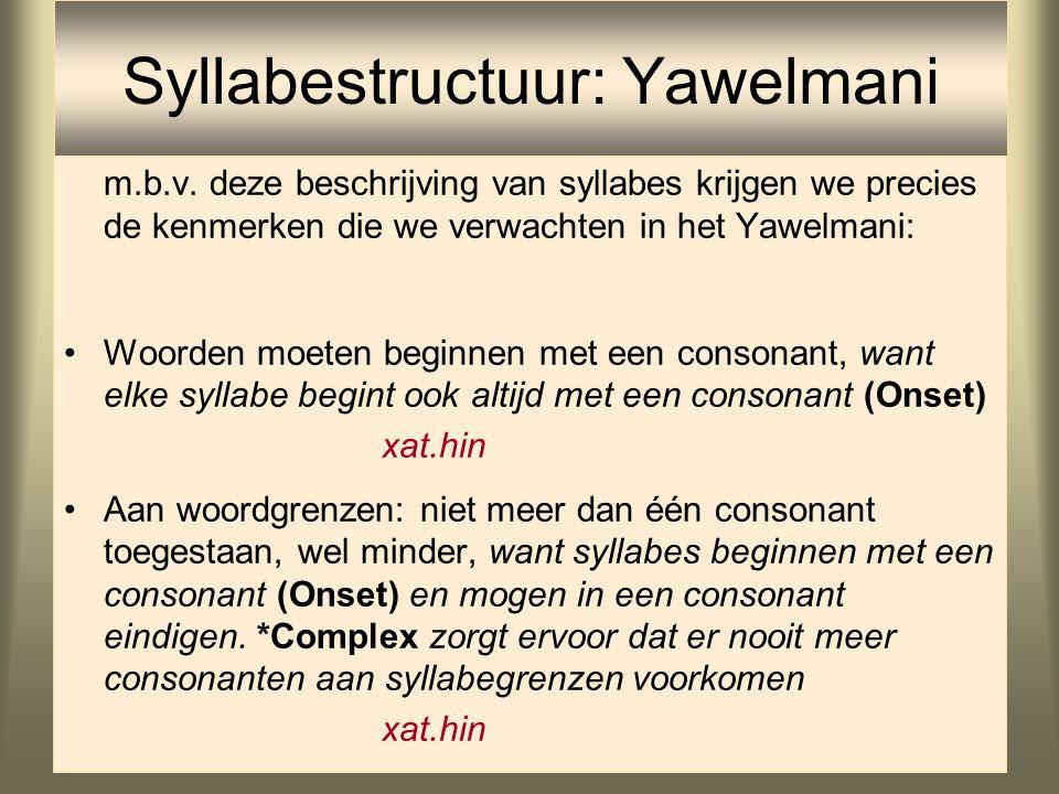 Syllabestructuur: Yawelmani Yawelmani heeft een vrijwel helemaal ongemarkeerde syllabestructuur, behalve dat *Coda soms geschonden wordt: –CV voldoet