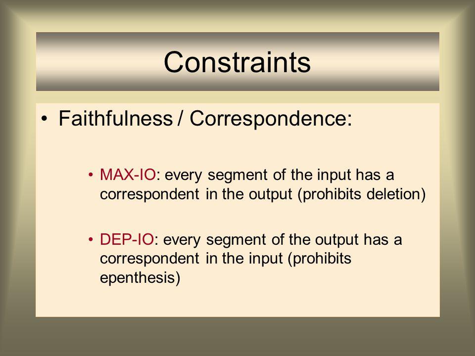 Constraints Markedness Constraints bepalen sterk universele tendensen: ongemarkeerde patronen Schending van deze constraints: voorspellen het vóórkome
