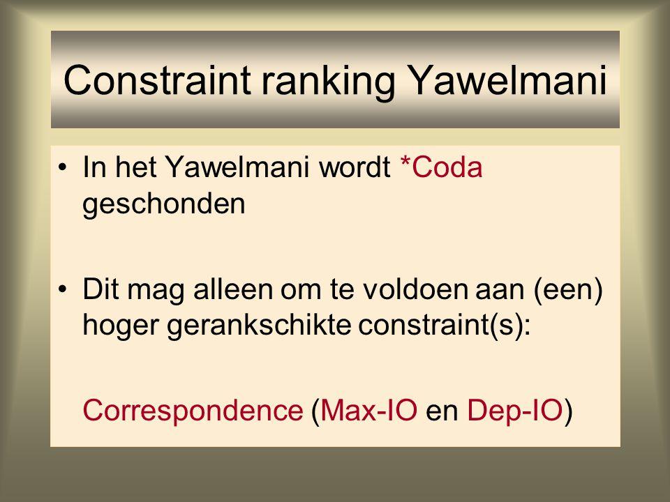 Constraint ranking Constraints zijn gerangschikt t.o.v. elkaar Elk taaltype: eigen rangschikking van constraints Variatie tussen talen verklaard door