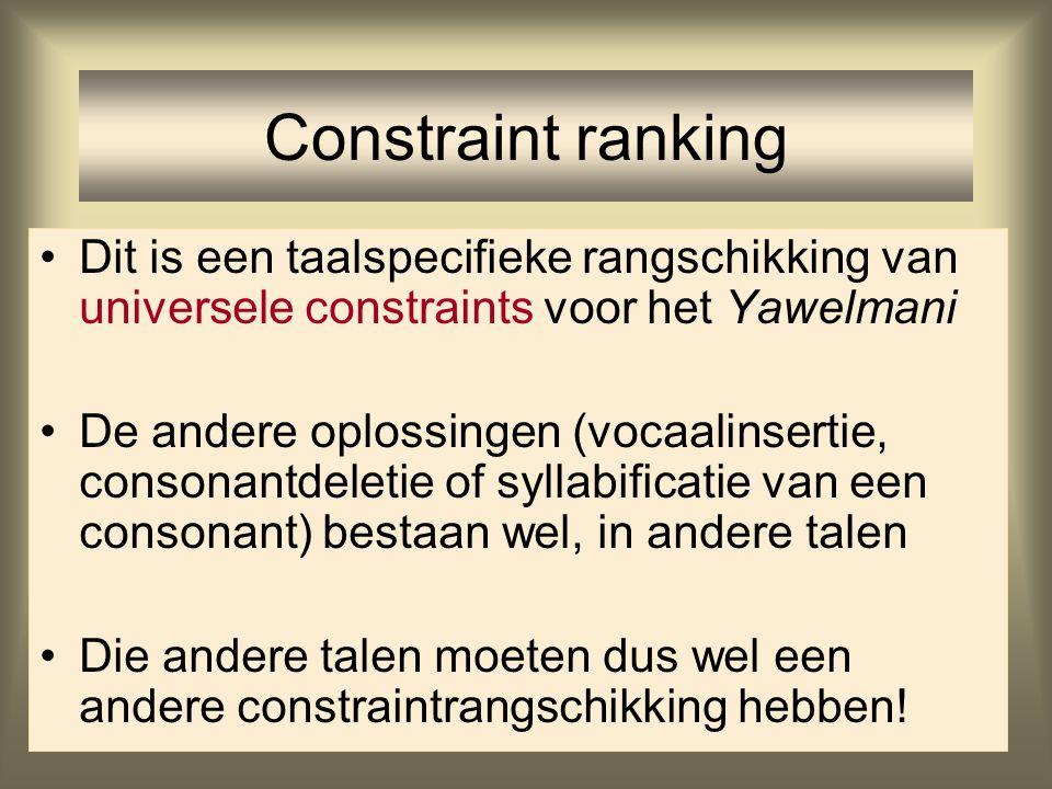 Constraint ranking Yawelmani In alle outputkandidaten wordt er een constraint geschonden Om toch een output te krijgen is de output die een lager gera