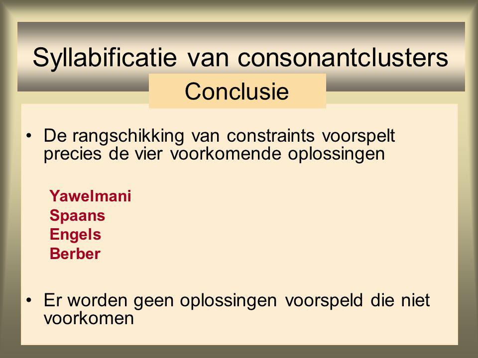 Syllabificatie van consonantclusters: Berber /t-fsi/Dep-IO*ComplexMax-IOPeak t.fsi.si f.si t.si tif.si tf.si ☞ *! *!* *! * * * *