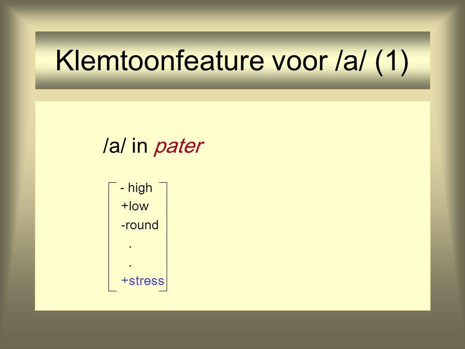 Representatie van Klemtoon Mogelijkheid (SPE): klemtoon is een absoluut prominentiefeature voor vocalen