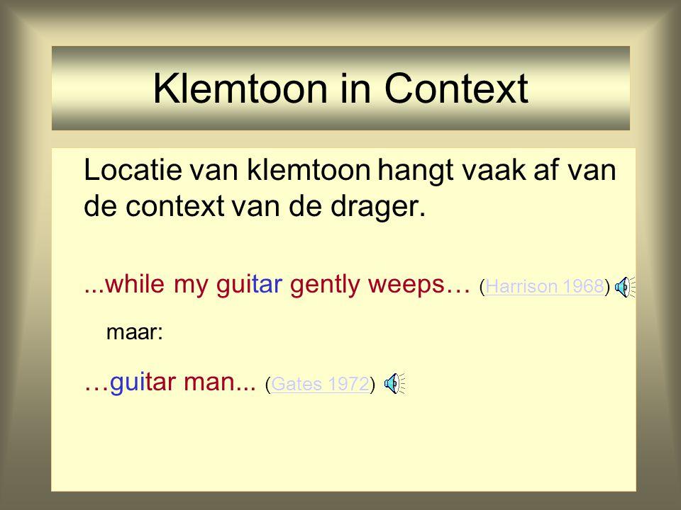 Representatie van Klemtoon Probleem met klemtoon als een absoluut prominentiefeature voor vocalen: klemtoon is (fonetisch) relatief en de plaats is va
