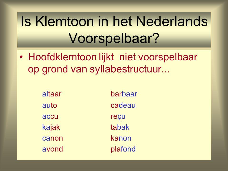Klemtoon en Morfologie Verschillende typen affixen kunnen worden onderscheiden op grond van hun effect op klemtoonplaatsing. Klemtoonneutrale affixen:
