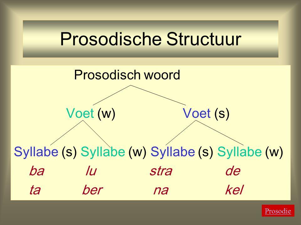 Aanwijzingen voor Nederlands Prosodisch Woord als (  w  s) Versprekingen: anafora, linoleum, metathesis, emeritus pagina, mascara, rococo, moussaka
