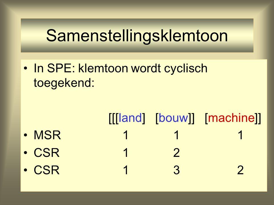 Samenstellingsklemtoon In SPE: klemtoon wordt cyclisch toegekend: [[land] [bouw]] [machine] MSR 1 1 1 CSR 1 2 (compound stress rule)