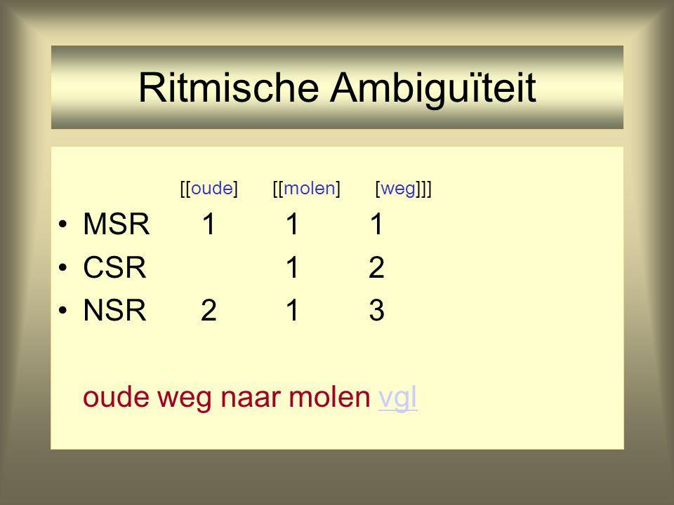 Ritmische Ambiguïteit [oude] [[molen] [weg]] MSR 1 1 1 CSR 1 2
