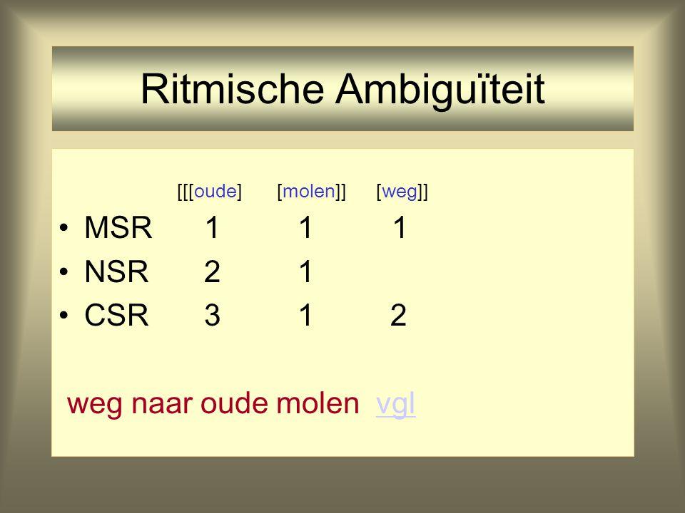 Ritmische Ambiguïteit [[oude] [molen]] [weg] MSR 1 1 1 NSR 2 1