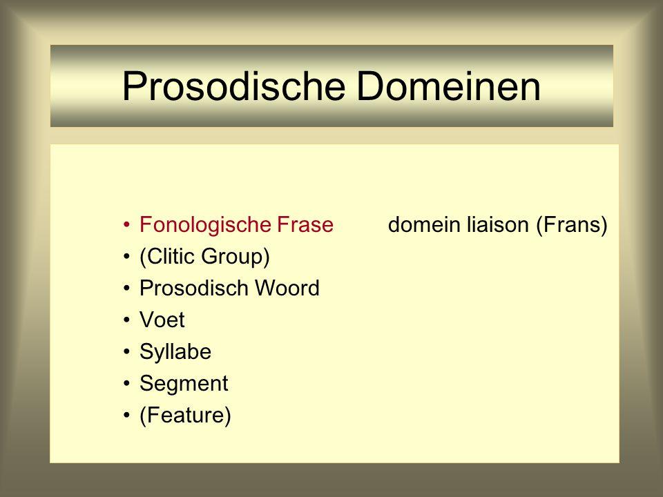 Prosodische Domeinen Prosodisch Woorddomein hoofdklemtoon Voet Syllabe Segment (Feature) PrWd