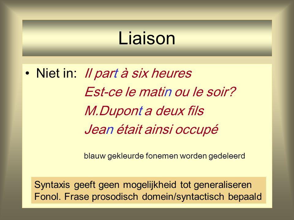 Liaison Wel in:mon amiPoss + N en bon anglaisPrep+Adj+N il est alléAux + V cet ouvrierDem + N