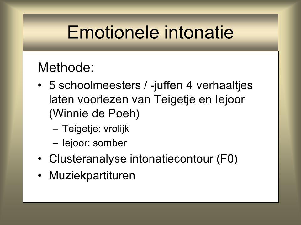 Experiment majeur / mineur: Vrolijke en verdrietige muziek: –Majeur: grote terts (4 semitonen: C – E) –Mineur: kleine terts (3 semitonen: C – Es) Ook
