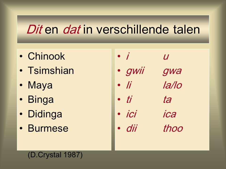 Geluid en betekenis ? Morris Swadesh (1909-1967): [i]-type vocalen geven aan dat iets dichtbij is en [a/u]-type vocalen geven afstand aan. hiervs. daa