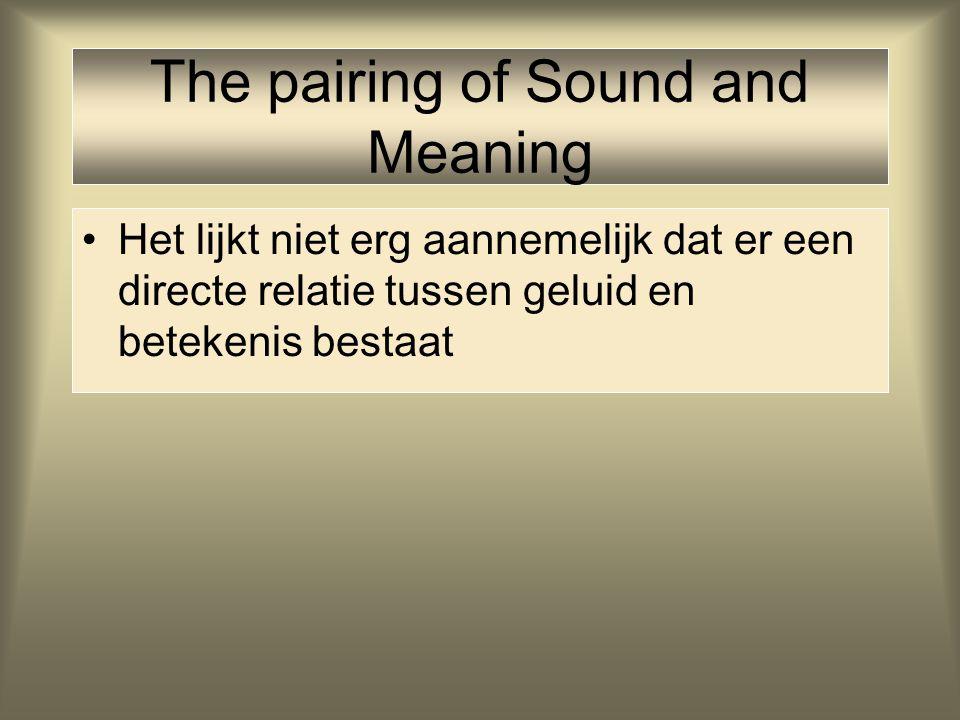 The pairing of Sound and Meaning Echter: zelfs bij onomatopeeën verschillen tussen talen: cucurucucu - kukeleku – cock-a-doodle-doo bow-wow - gnaf-gna