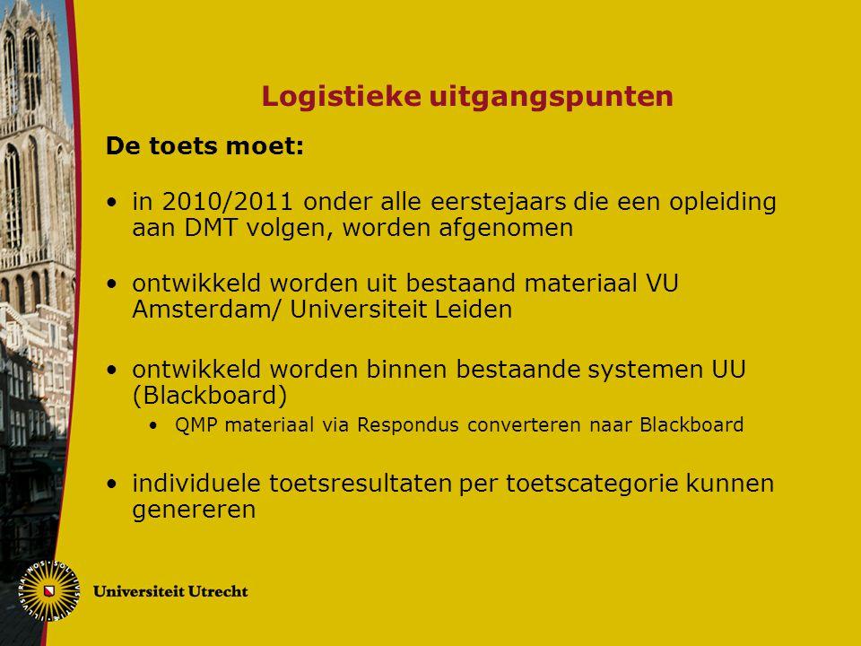 Logistieke uitgangspunten De toets moet: in 2010/2011 onder alle eerstejaars die een opleiding aan DMT volgen, worden afgenomen ontwikkeld worden uit