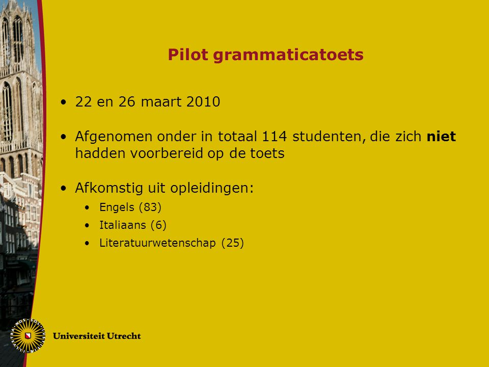 Pilot grammaticatoets 22 en 26 maart 2010 Afgenomen onder in totaal 114 studenten, die zich niet hadden voorbereid op de toets Afkomstig uit opleiding