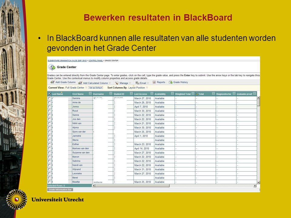 Bewerken resultaten in BlackBoard In BlackBoard kunnen alle resultaten van alle studenten worden gevonden in het Grade Center
