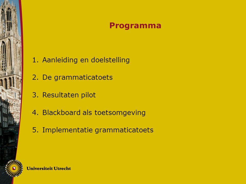 Programma 1.Aanleiding en doelstelling 2.De grammaticatoets 3.Resultaten pilot 4.Blackboard als toetsomgeving 5.Implementatie grammaticatoets